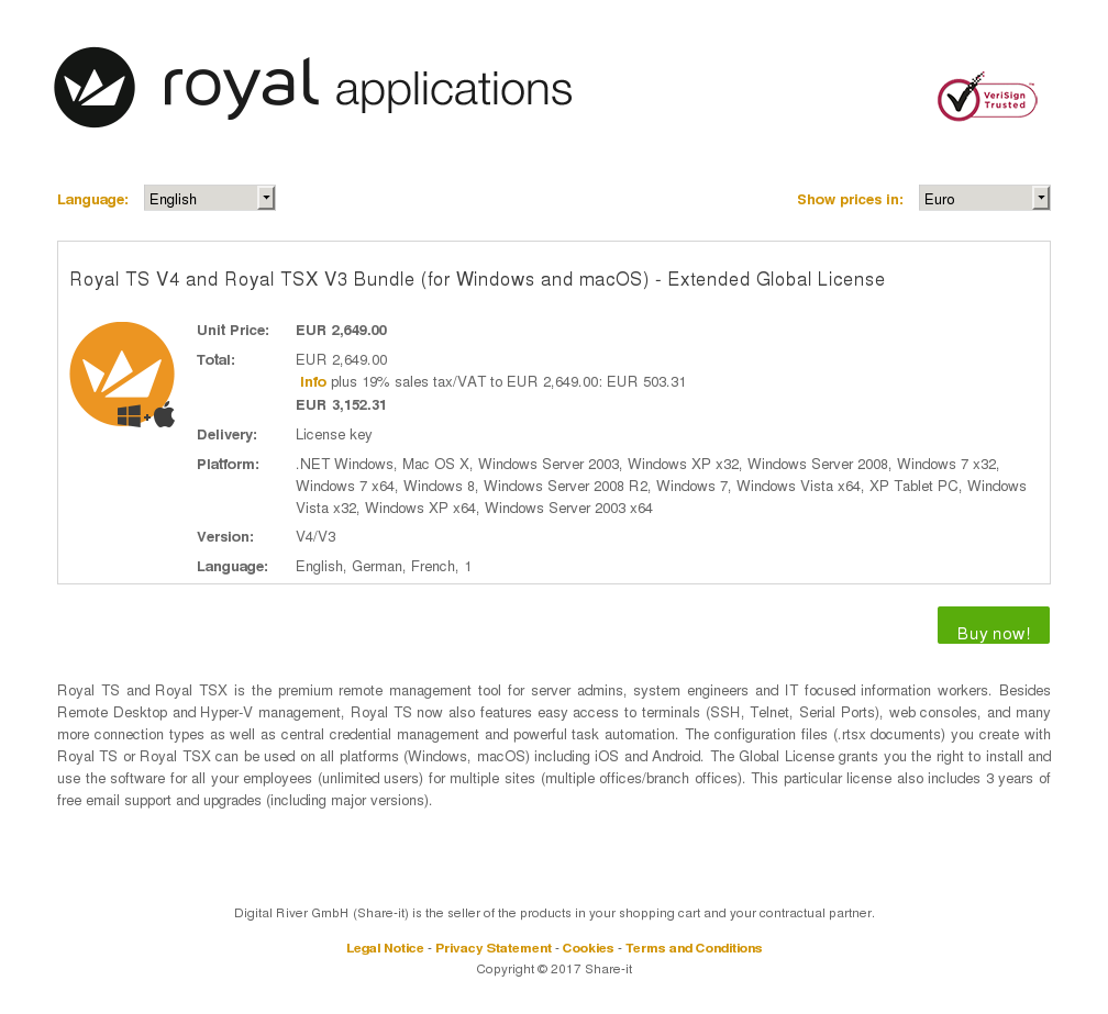 Royal TS V4 and Royal TSX V3 Bundle (for Windows and macOS) - Extended Global License