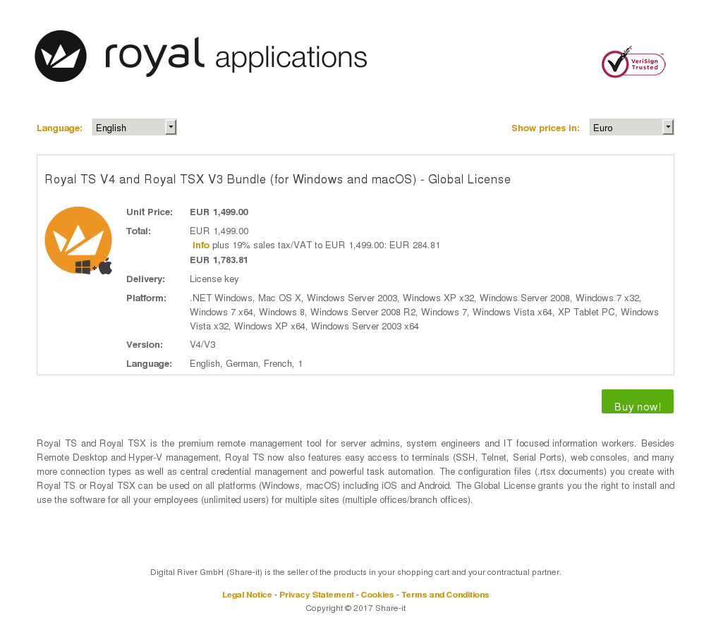 Royal TS V4 and Royal TSX V3 Bundle (for Windows and macOS) - Global License