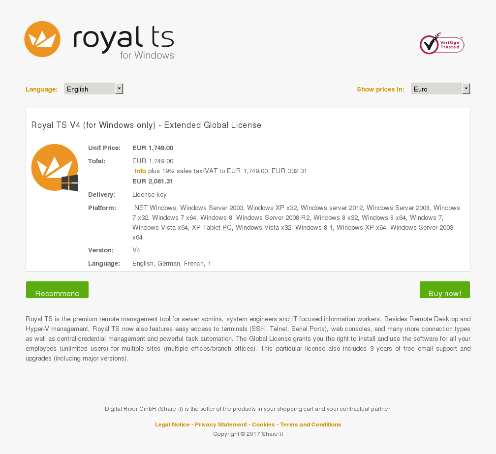 Royal TS V4 (for Windows only) - Extended Global License