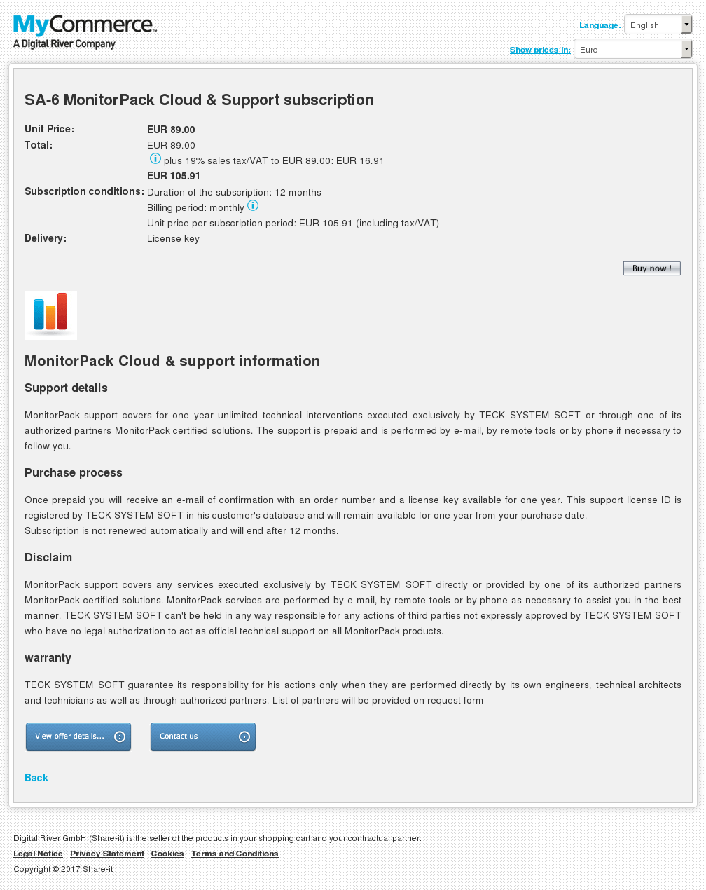 SA-6 MonitorPack Cloud & Support subscription