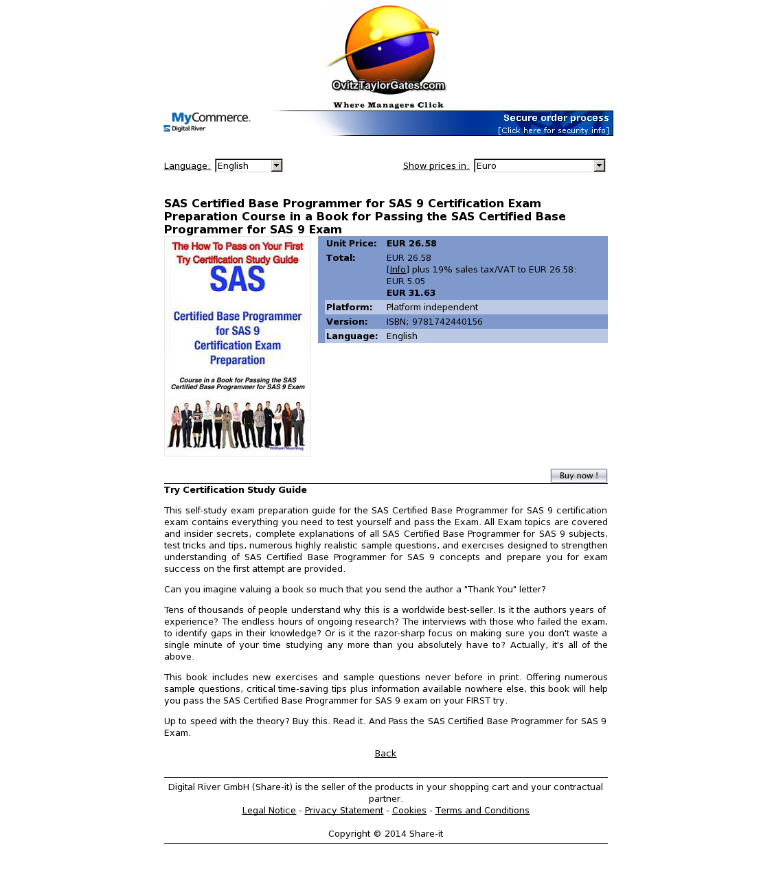 SAS Certified Base Programmer for SAS 9 Certification Exam Preparation Course in a Book for Passing the SAS Certified Base Programmer for SAS 9 Exam