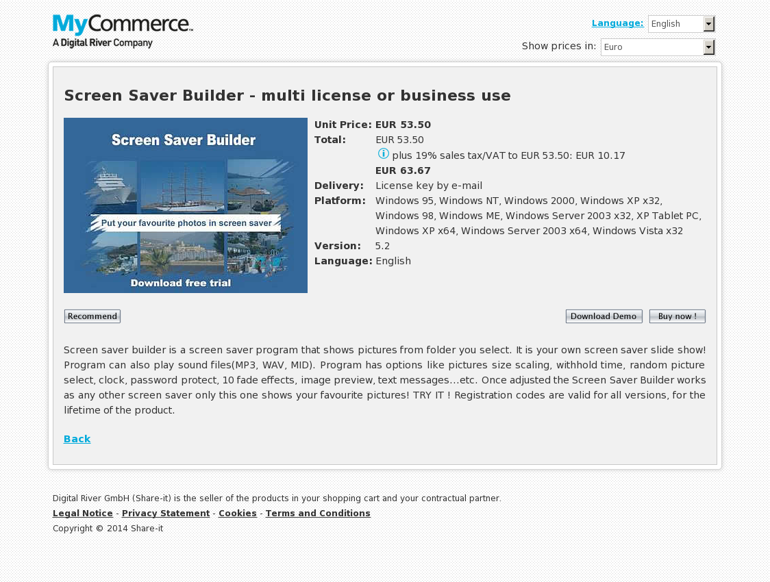 Screen Saver Builder - multi license or business use