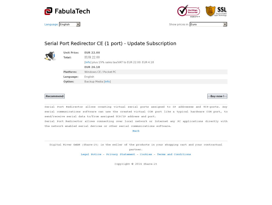 Serial Port Redirector CE (1 port) - Update Subscription