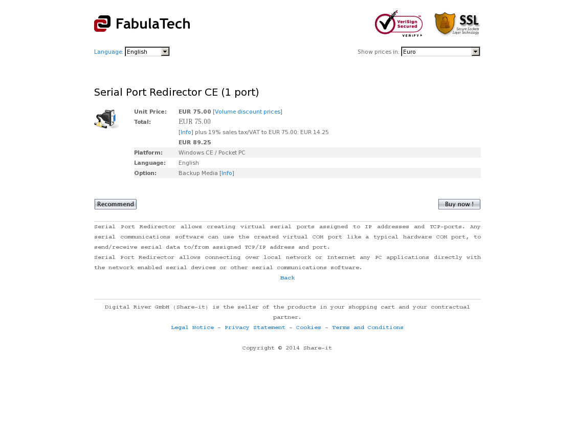 Serial Port Redirector CE (1 port)