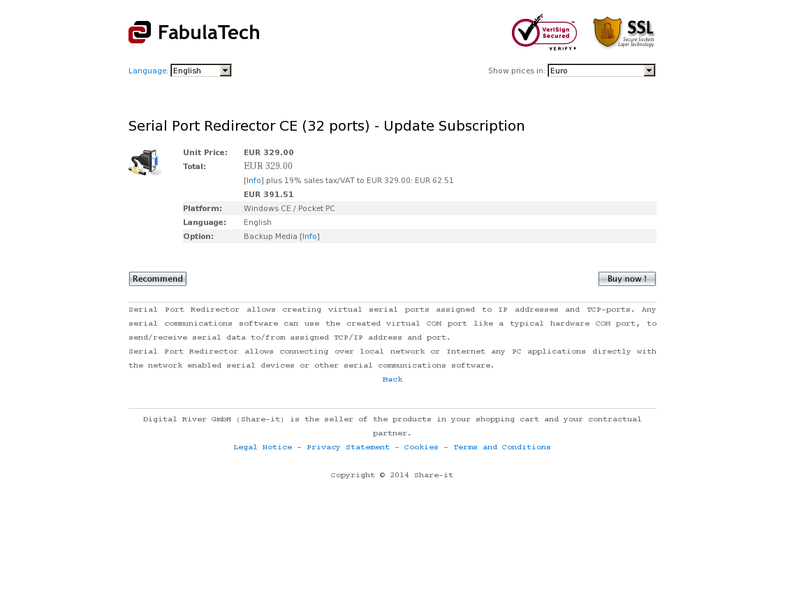 Serial Port Redirector CE (32 ports) - Update Subscription