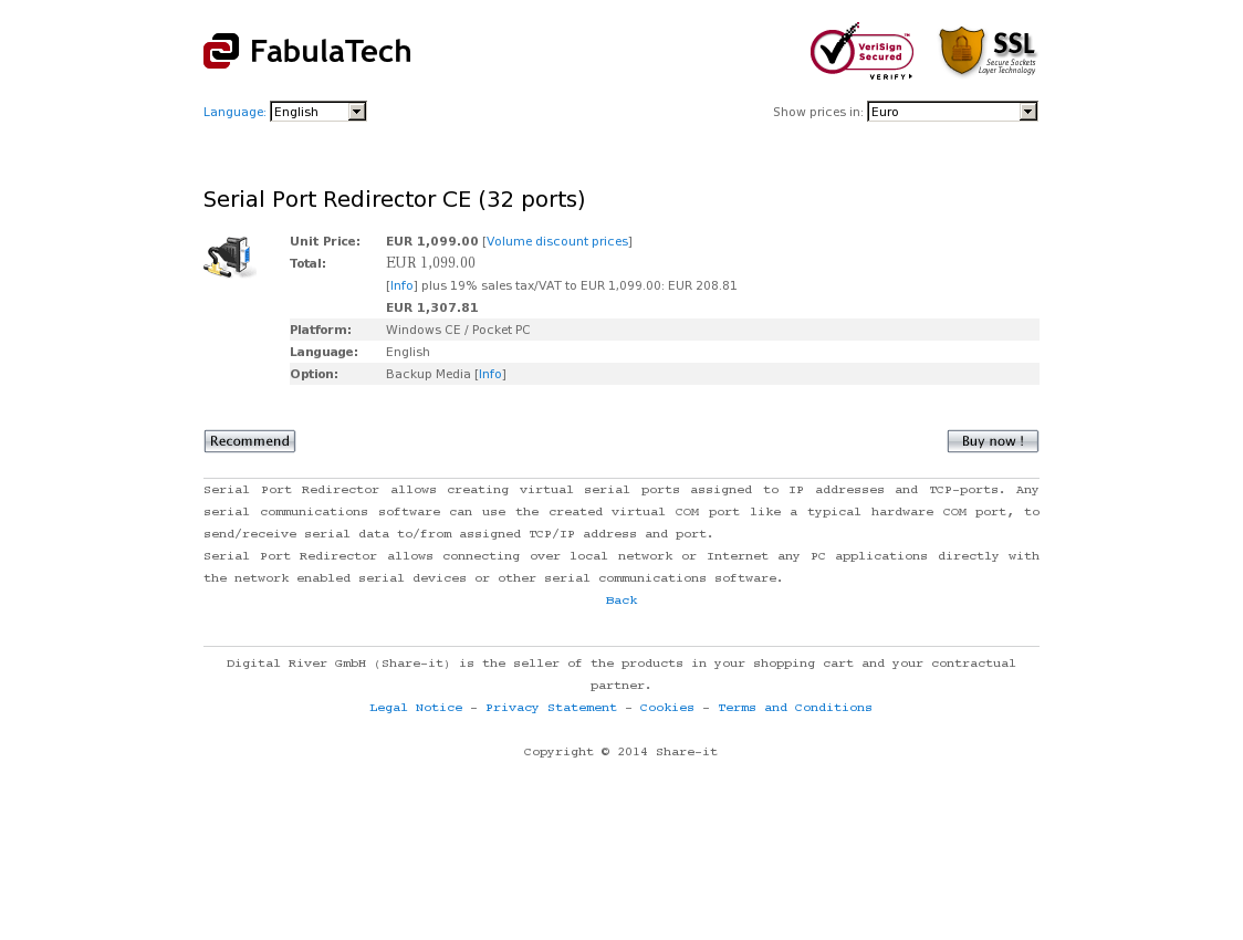Serial Port Redirector CE (32 ports)