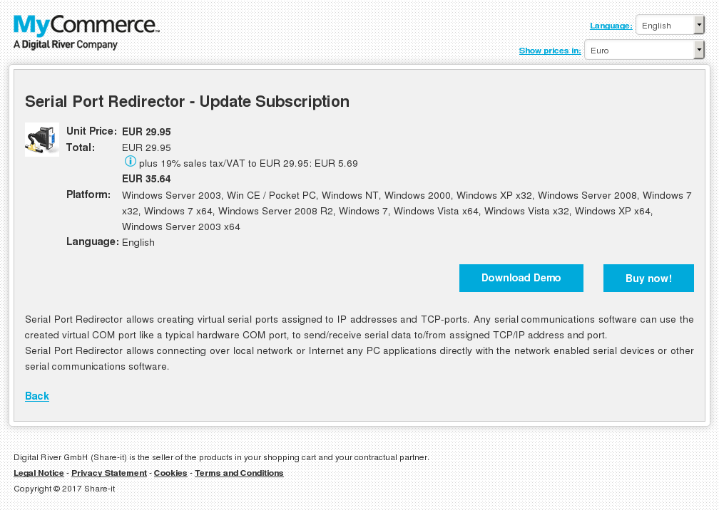 Serial Port Redirector - Update Subscription