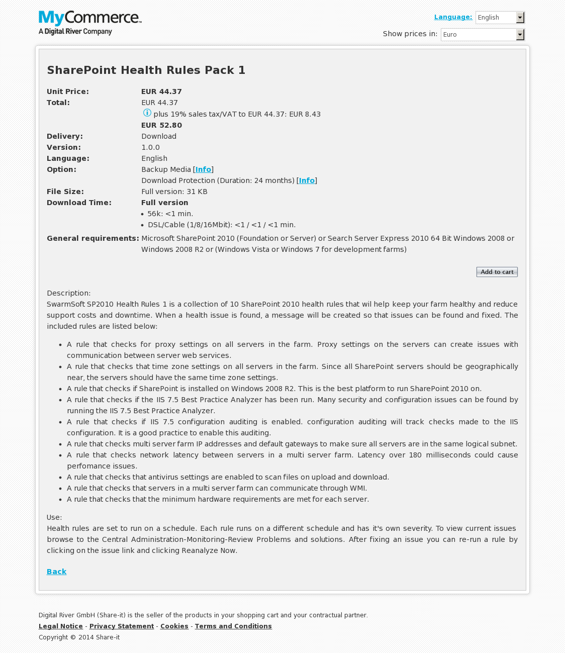 SharePoint Health Rules Pack 1