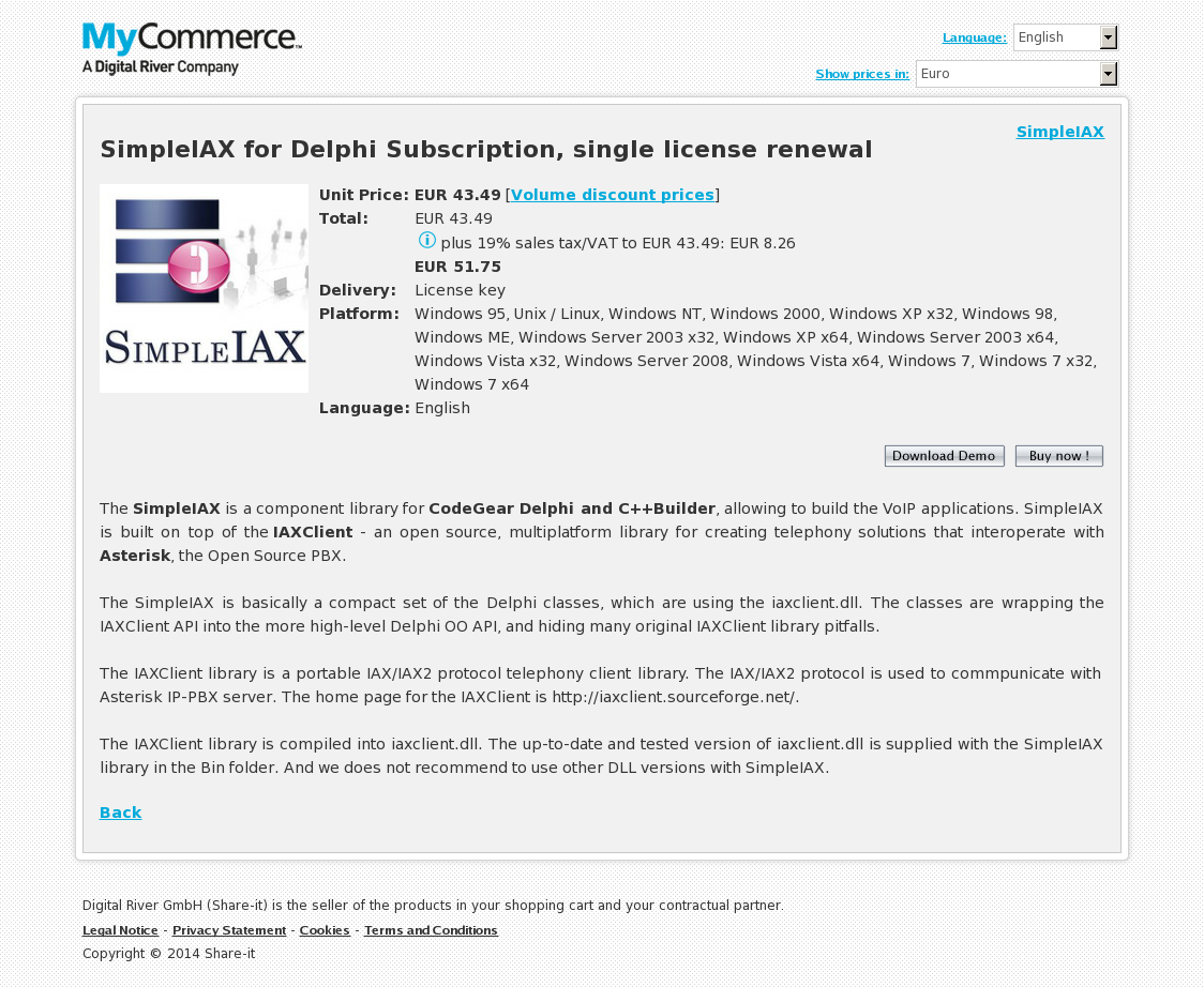 SimpleIAX for Delphi Subscription, single license renewal