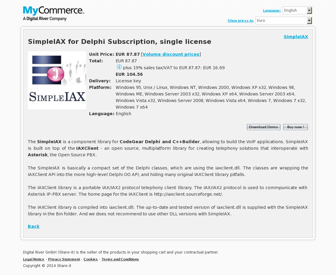 SimpleIAX for Delphi Subscription, single license