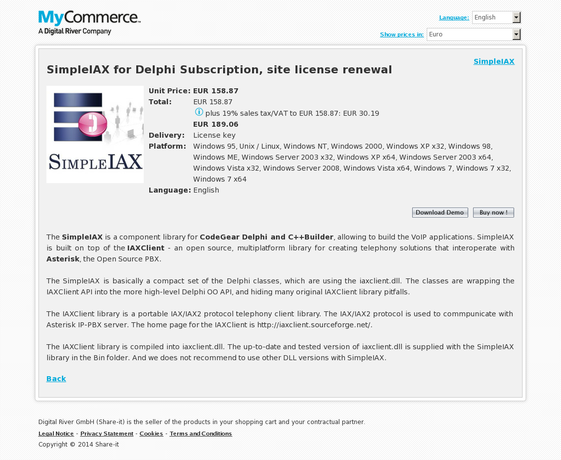 SimpleIAX for Delphi Subscription, site license renewal