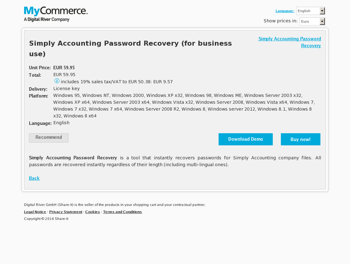 Simply Accounting Password Recovery (for business use)