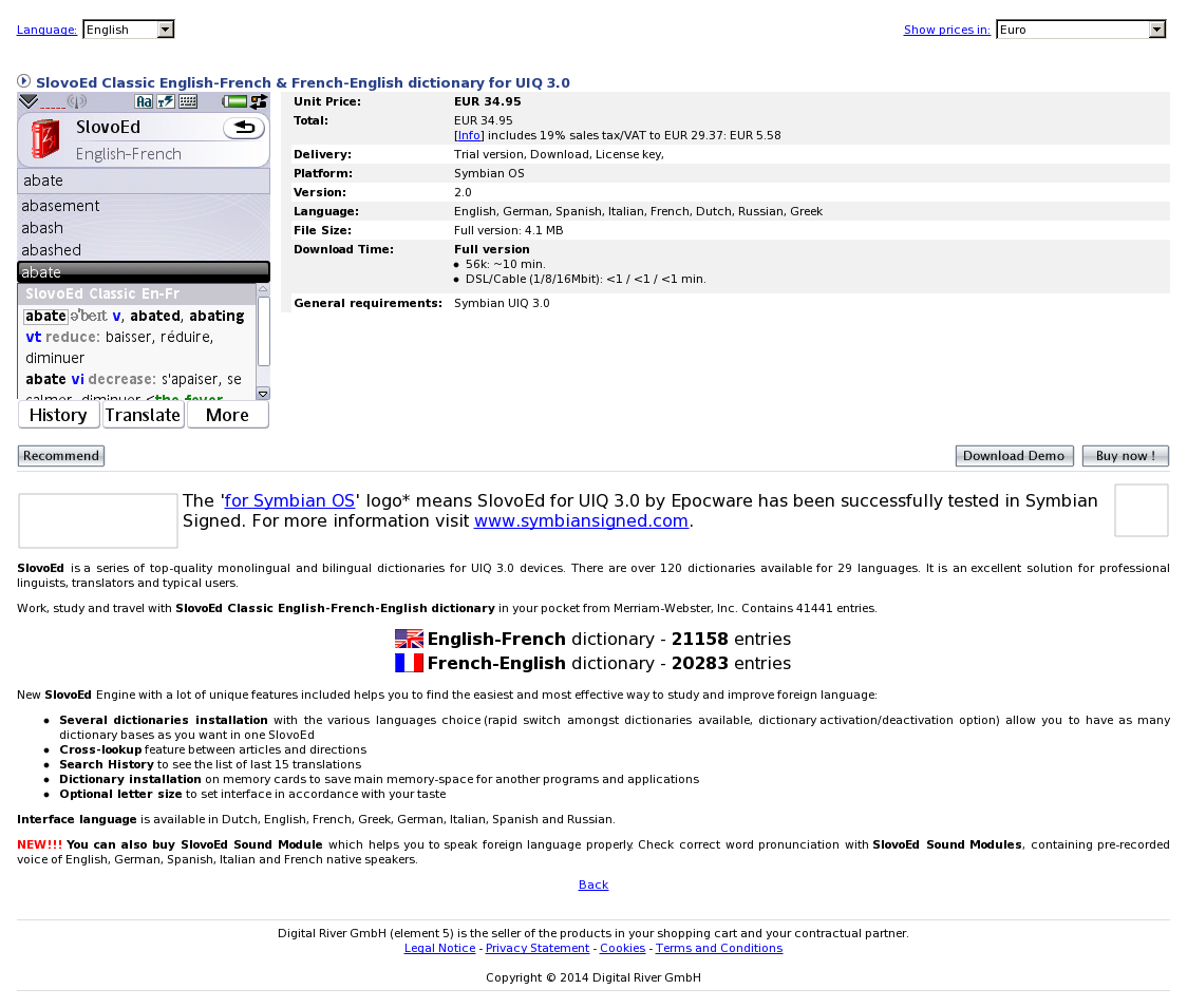 SlovoEd Classic English-French & French-English dictionary for UIQ 3.0