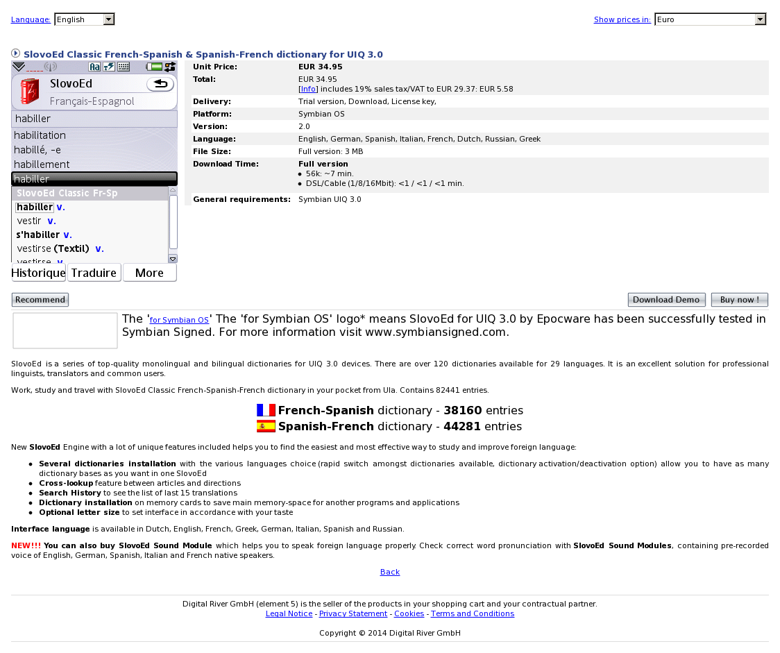 SlovoEd Classic French-Spanish & Spanish-French dictionary for UIQ 3.0