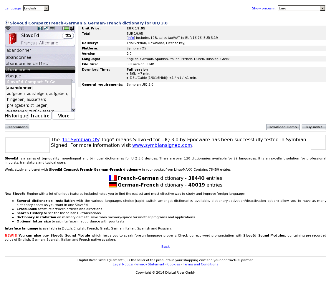 SlovoEd Compact French-German & German-French dictionary for UIQ 3.0