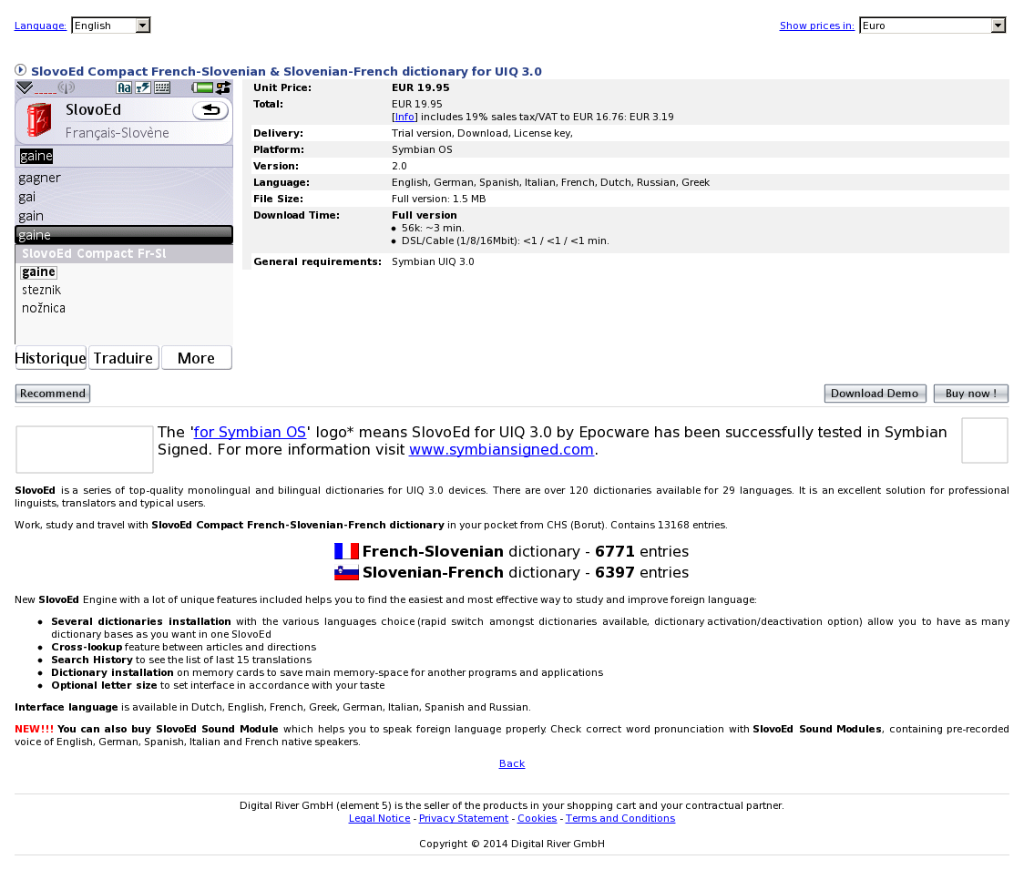 SlovoEd Compact French-Slovenian & Slovenian-French dictionary for UIQ 3.0