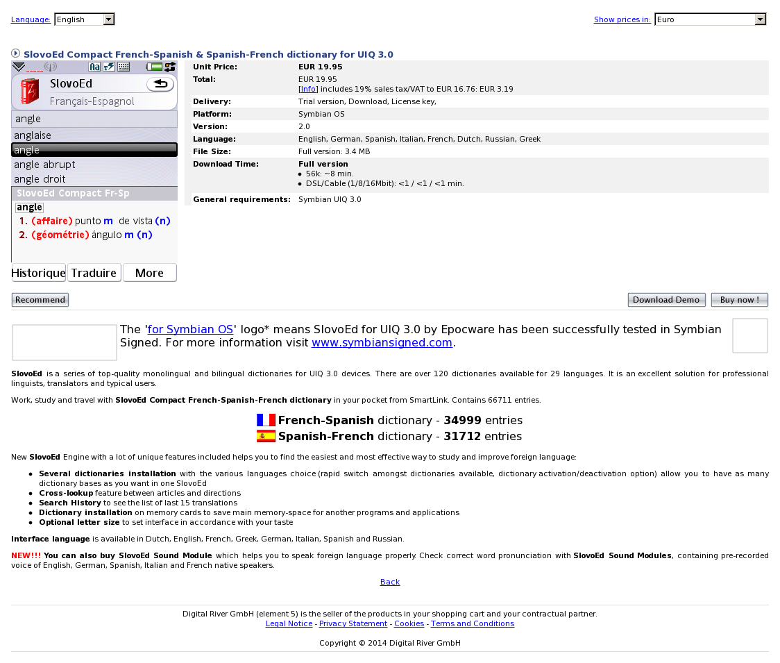 SlovoEd Compact French-Spanish & Spanish-French dictionary for UIQ 3.0