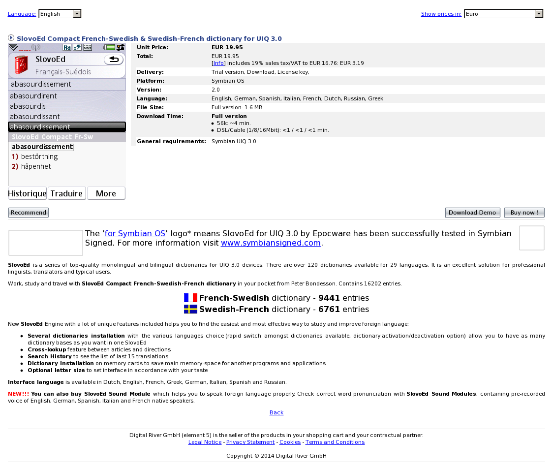 SlovoEd Compact French-Swedish & Swedish-French dictionary for UIQ 3.0