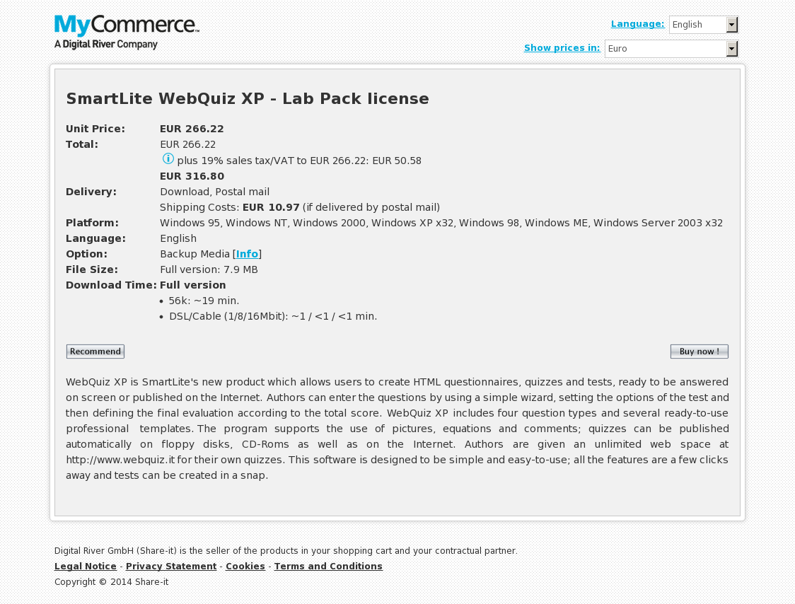 SmartLite WebQuiz XP - Lab Pack license