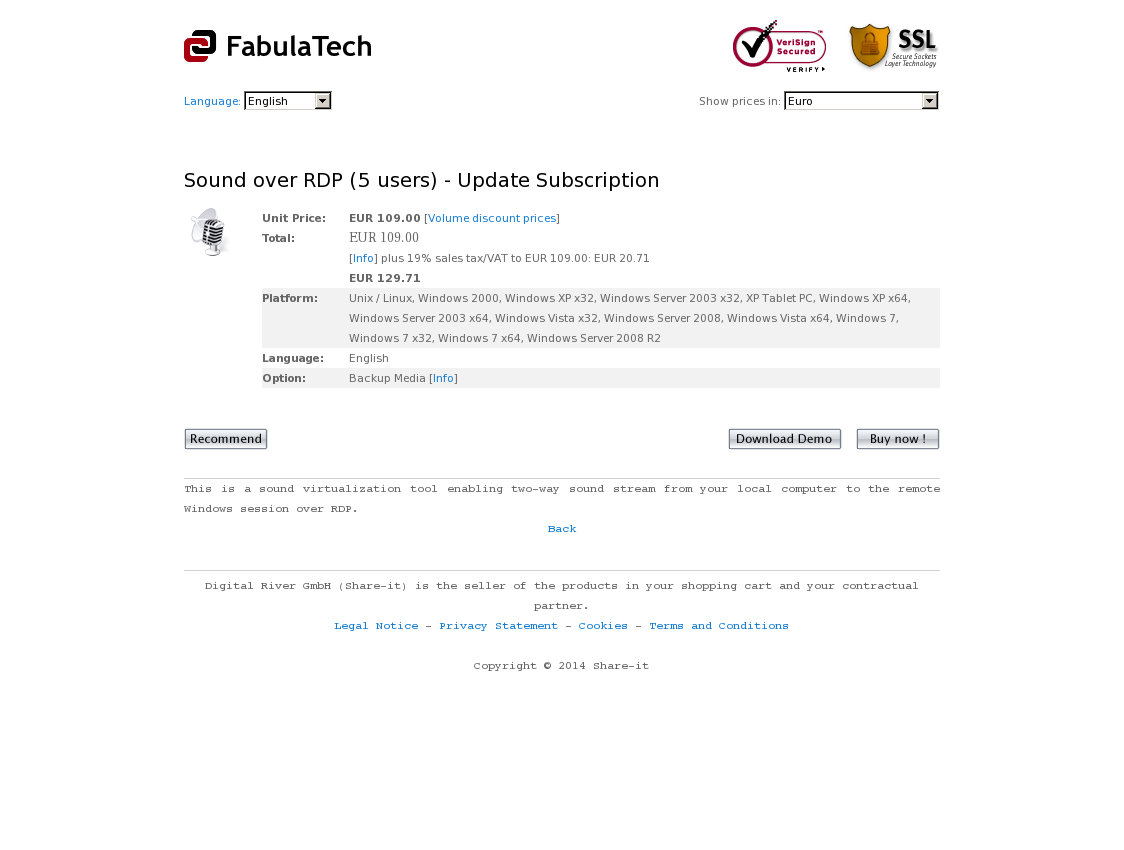 Sound over RDP (5 users) - Update Subscription