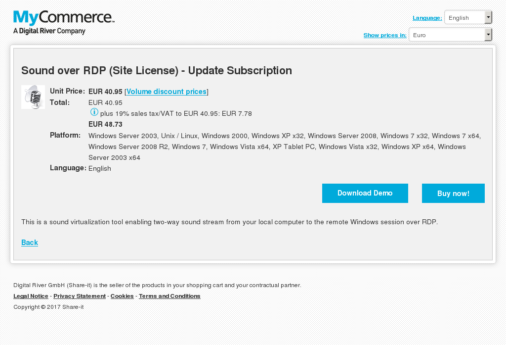 Sound over RDP (Site License) - Update Subscription
