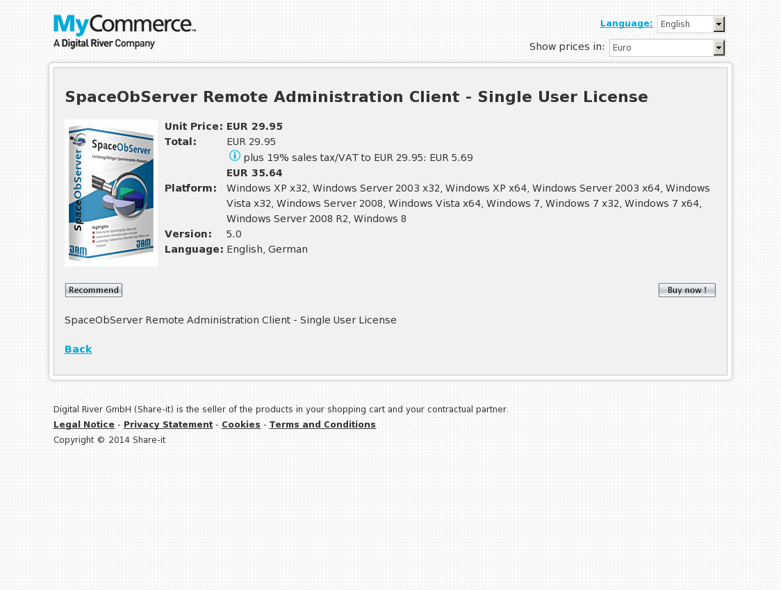 SpaceObServer Remote Administration Client - Single User License