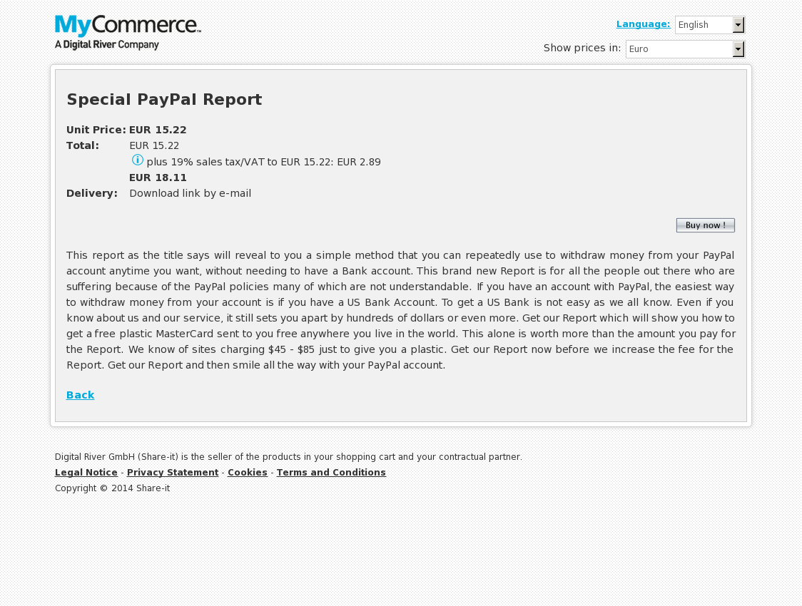 Special PayPal Report