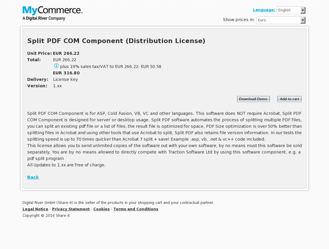 Split PDF COM Component (Distribution License)