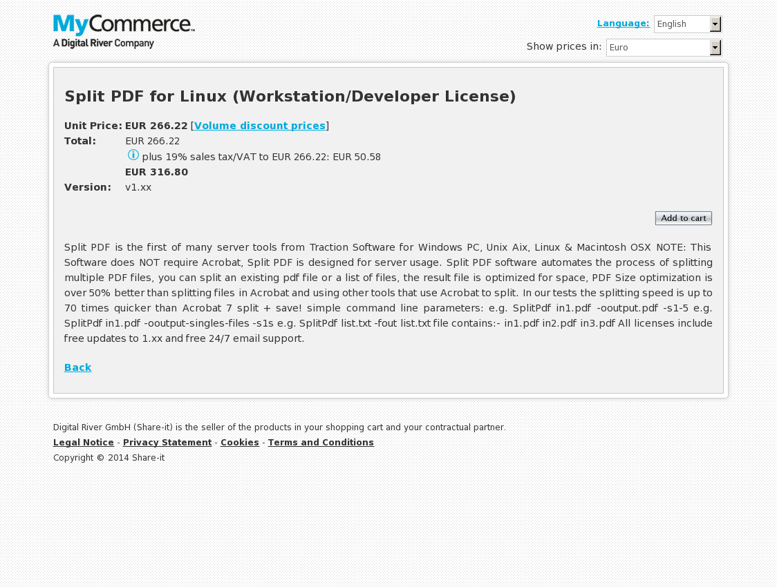 Split PDF for Linux (Workstation/Developer License)