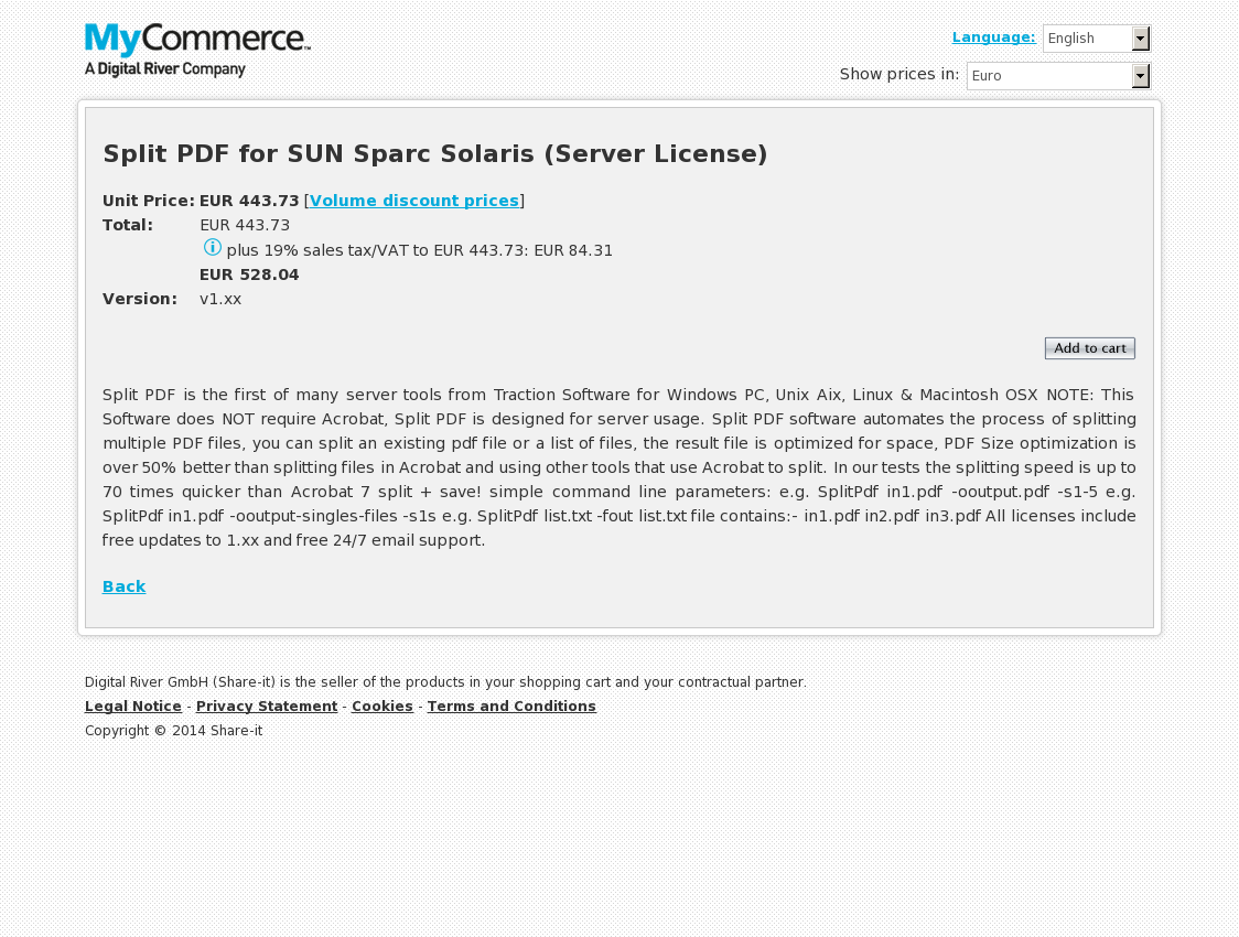 Split PDF for SUN Sparc Solaris (Server License)