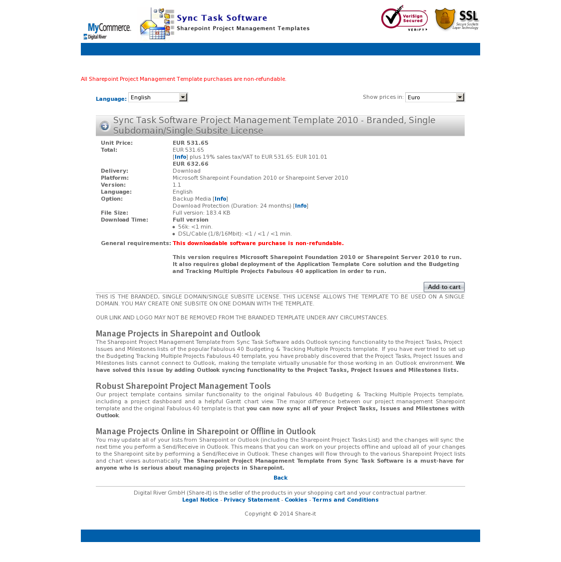 Sync Task Software Project Management Template 2010 - Branded, Single Subdomain/Single Subsite License
