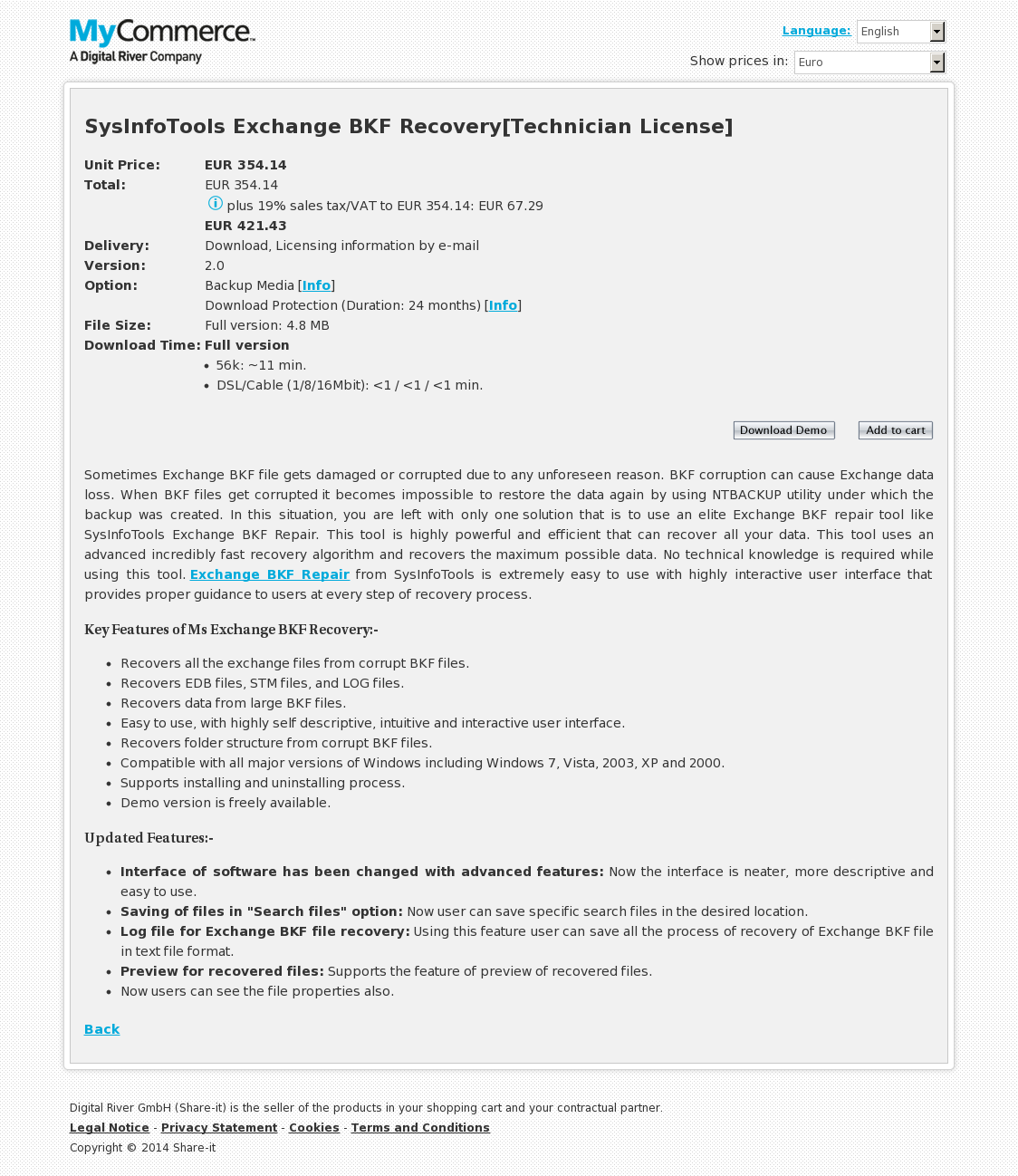 SysInfoTools Exchange BKF Recovery[Technician License]