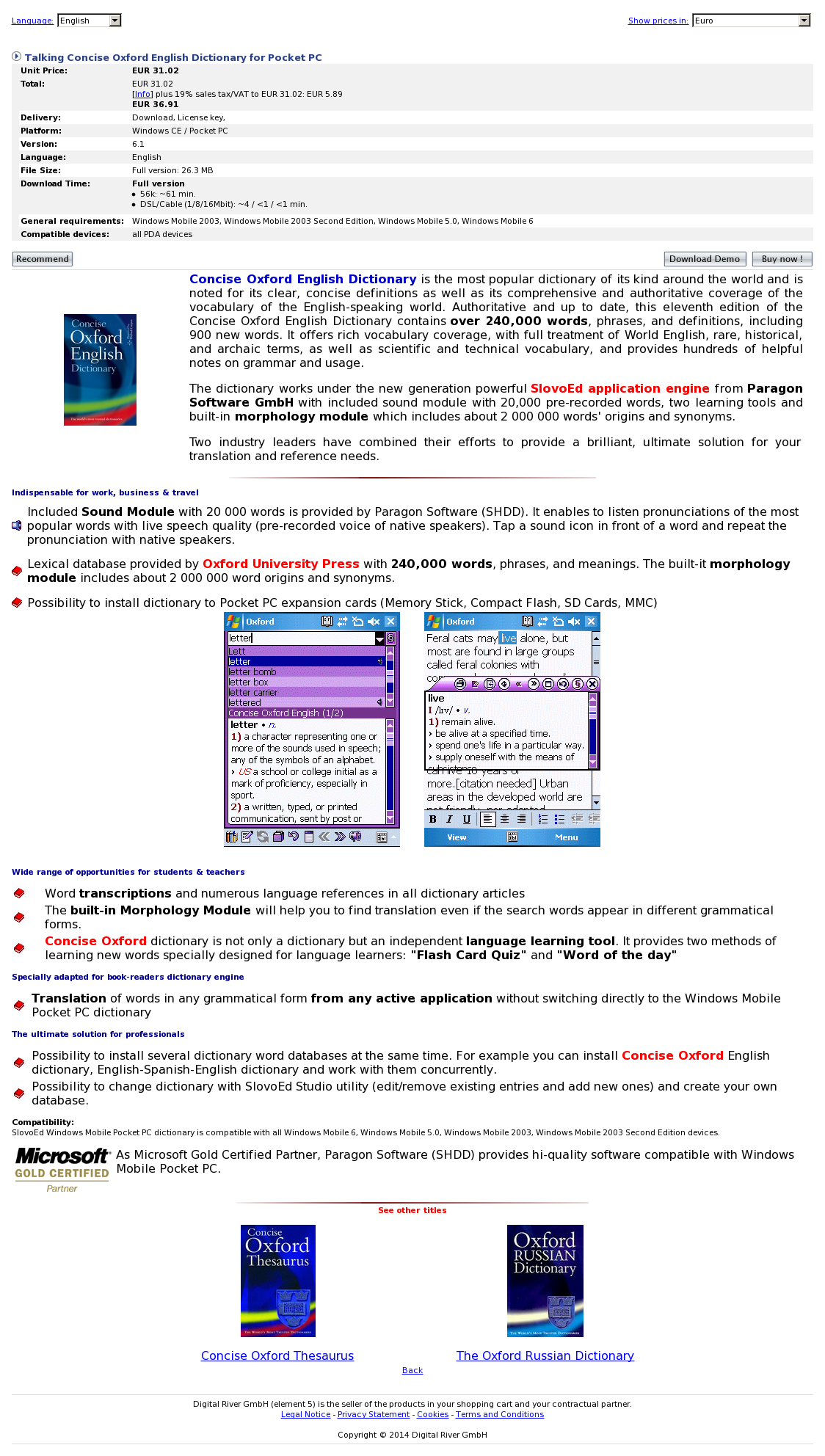 Talking Concise Oxford English Dictionary for Pocket PC