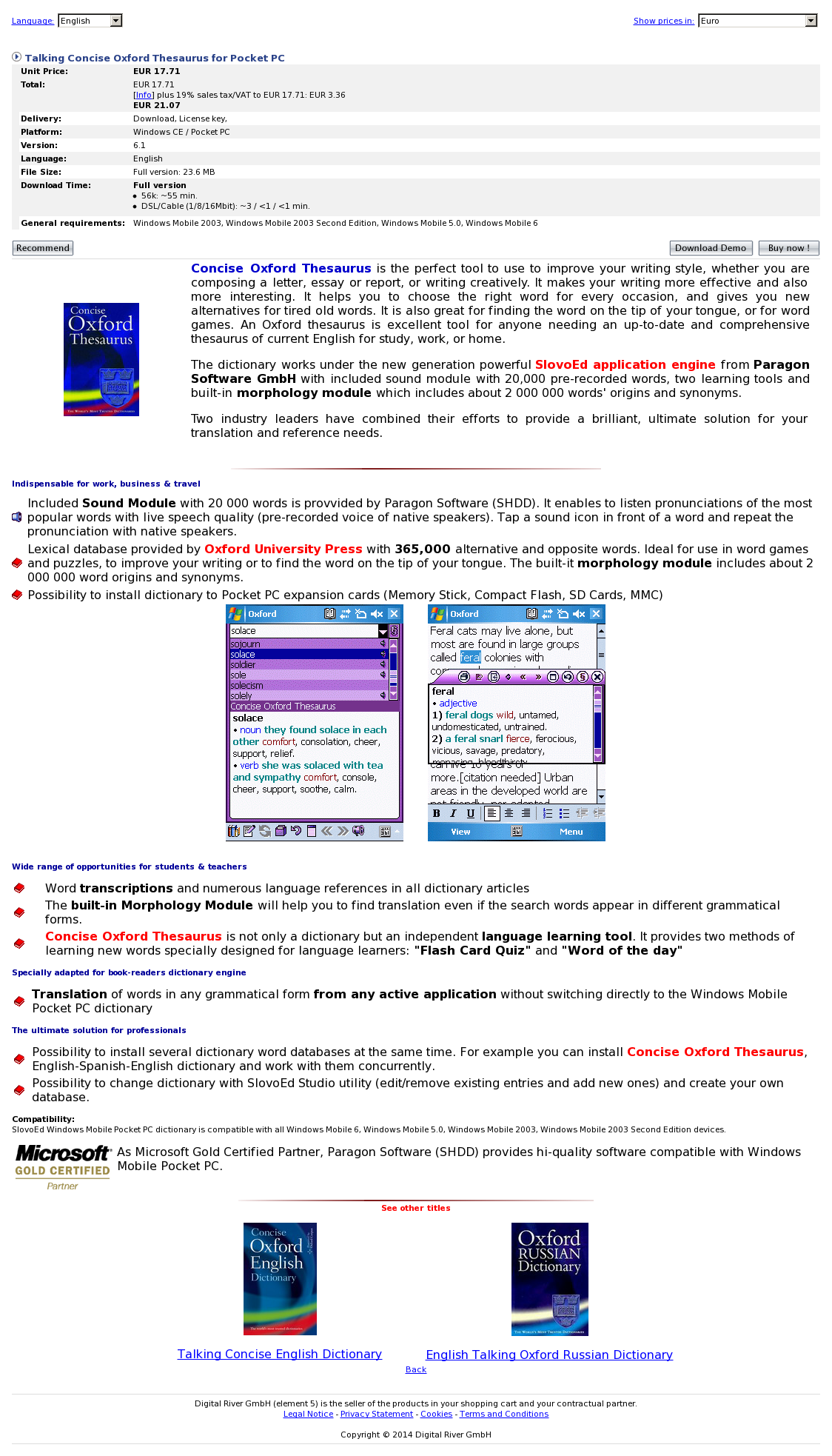 Talking Concise Oxford Thesaurus for Pocket PC