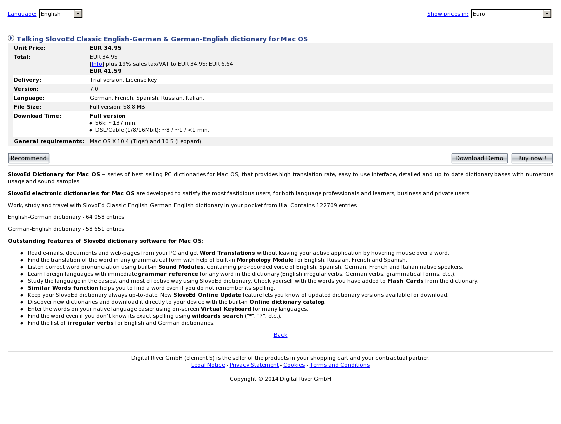 Talking SlovoEd Classic English-German & German-English dictionary for Mac OS