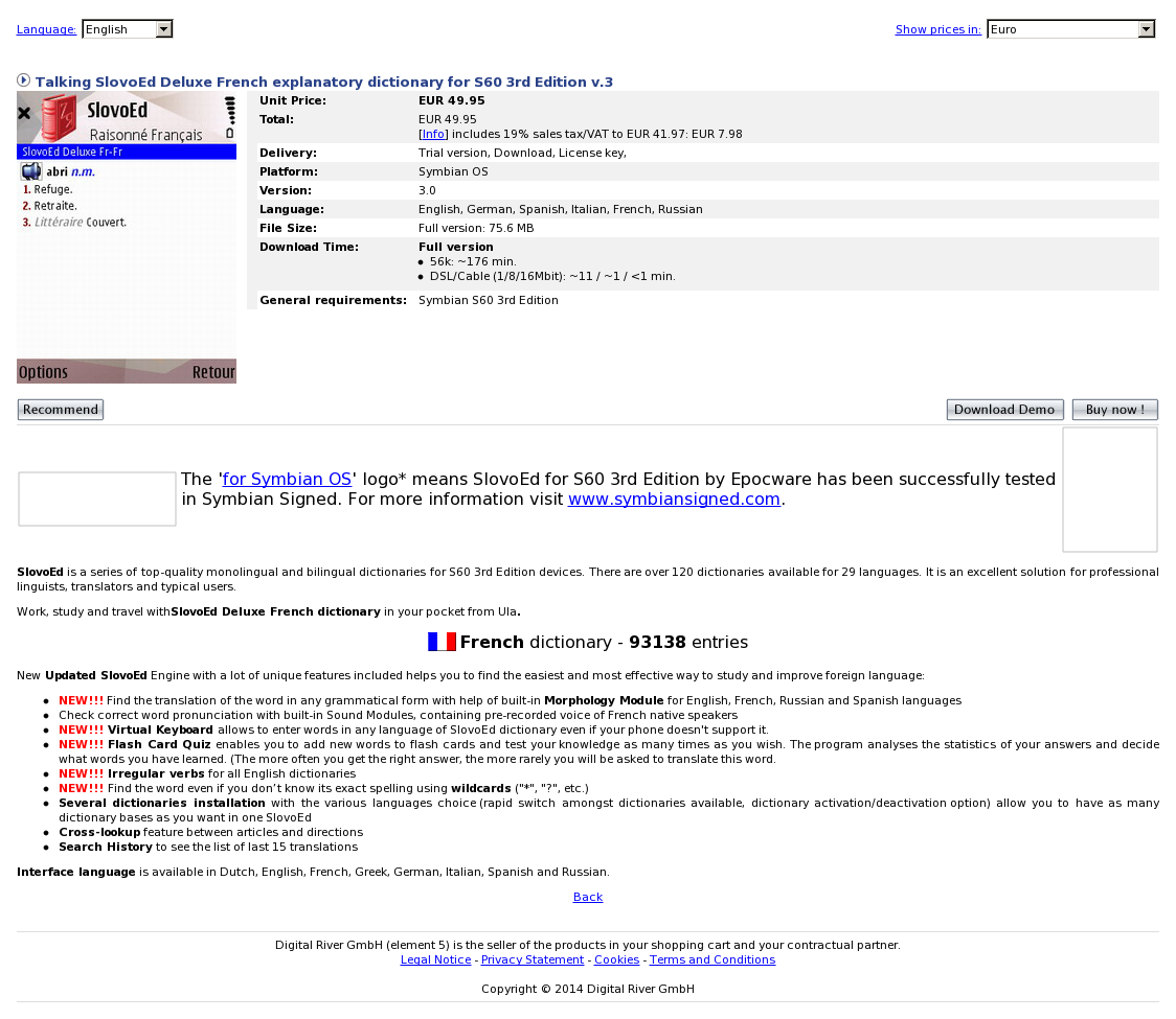 Talking SlovoEd Deluxe French explanatory dictionary for S60 3rd Edition v.3