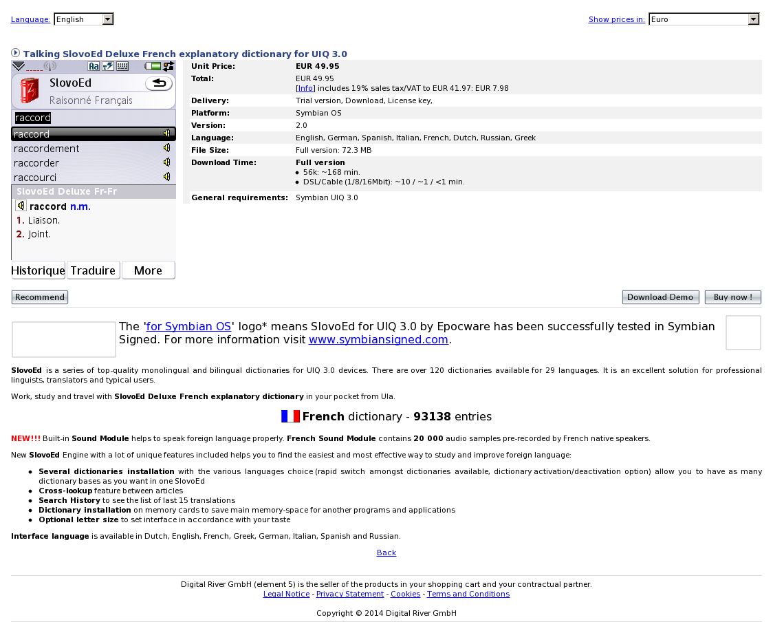 Talking SlovoEd Deluxe French explanatory dictionary for UIQ 3.0