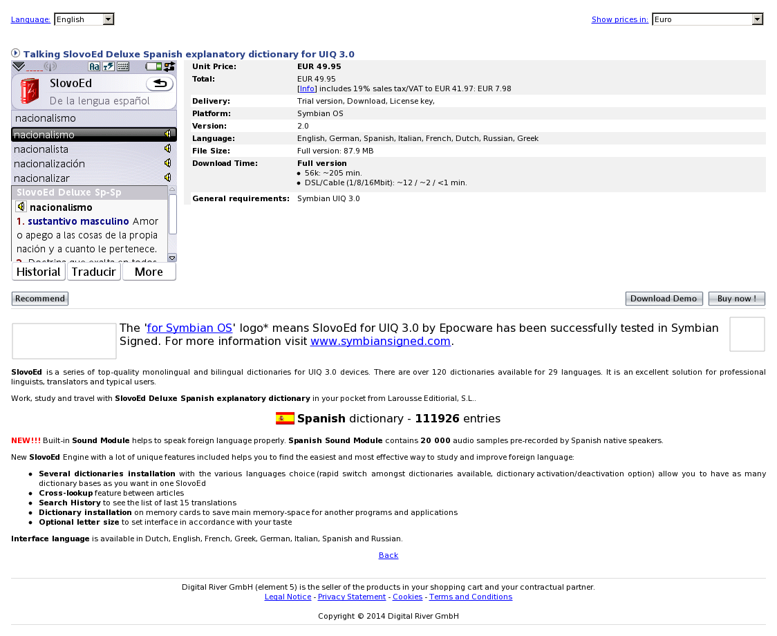Talking SlovoEd Deluxe Spanish explanatory dictionary for UIQ 3.0