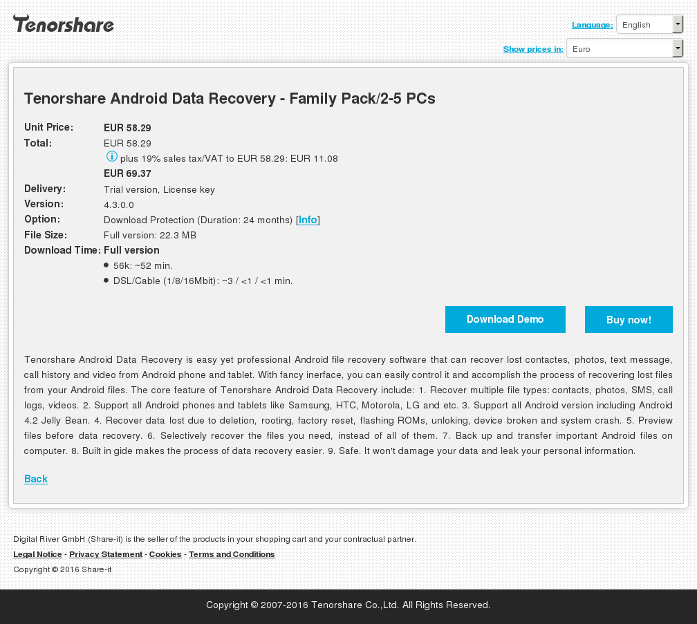 Tenorshare Android Data Recovery - Family Pack/2-5 PCs