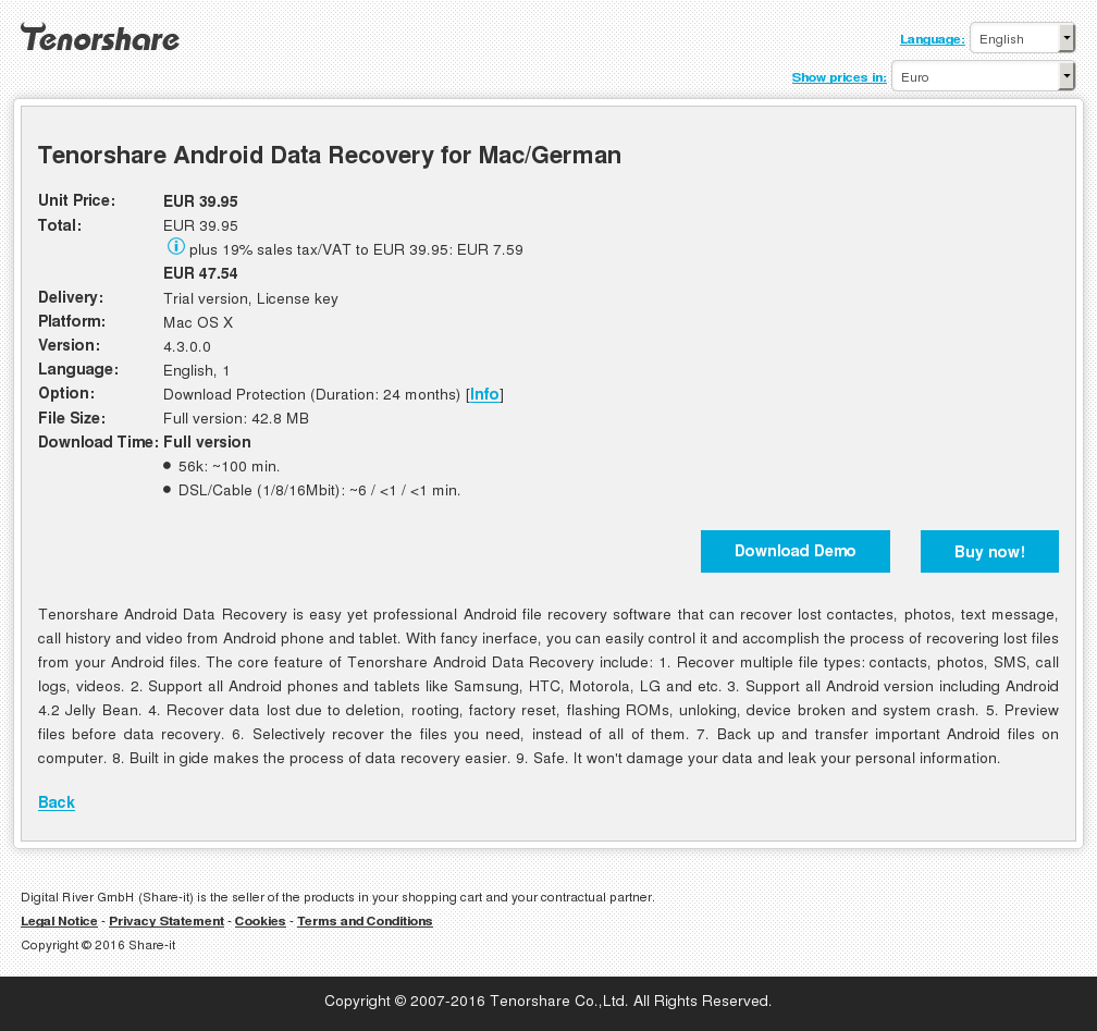 Tenorshare Android Data Recovery for Mac/German