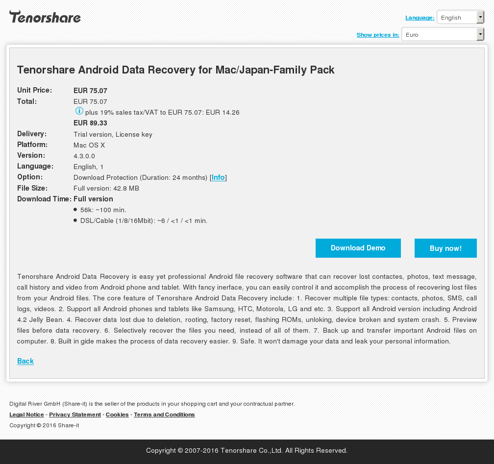 Tenorshare Android Data Recovery for Mac/Japan-Family Pack