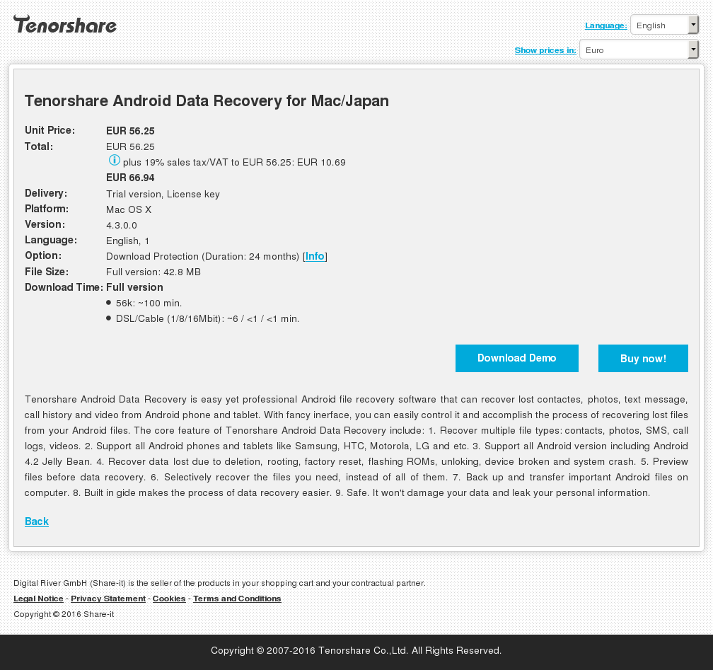 Tenorshare Android Data Recovery for Mac/Japan