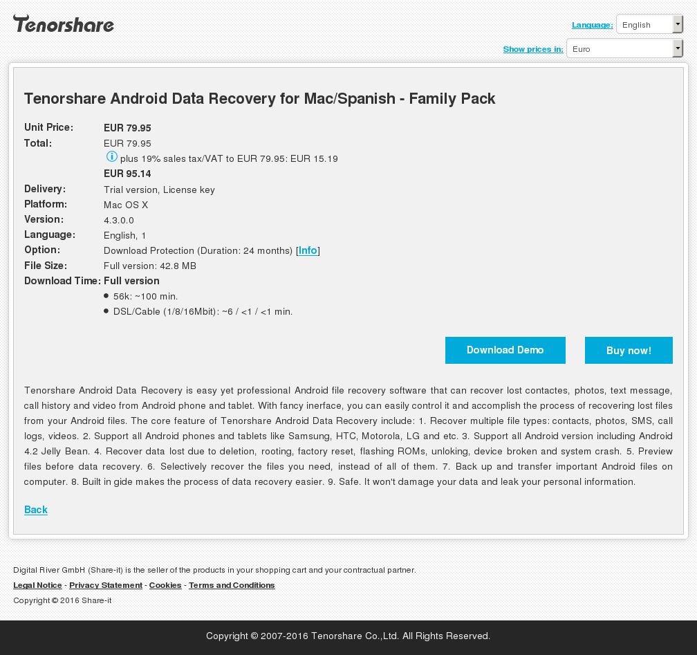 Tenorshare Android Data Recovery for Mac/Spanish - Family Pack
