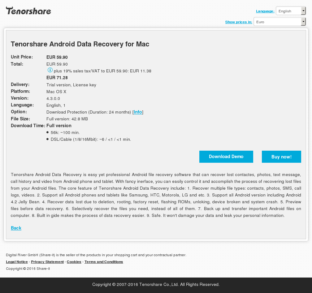 Tenorshare Android Data Recovery for Mac