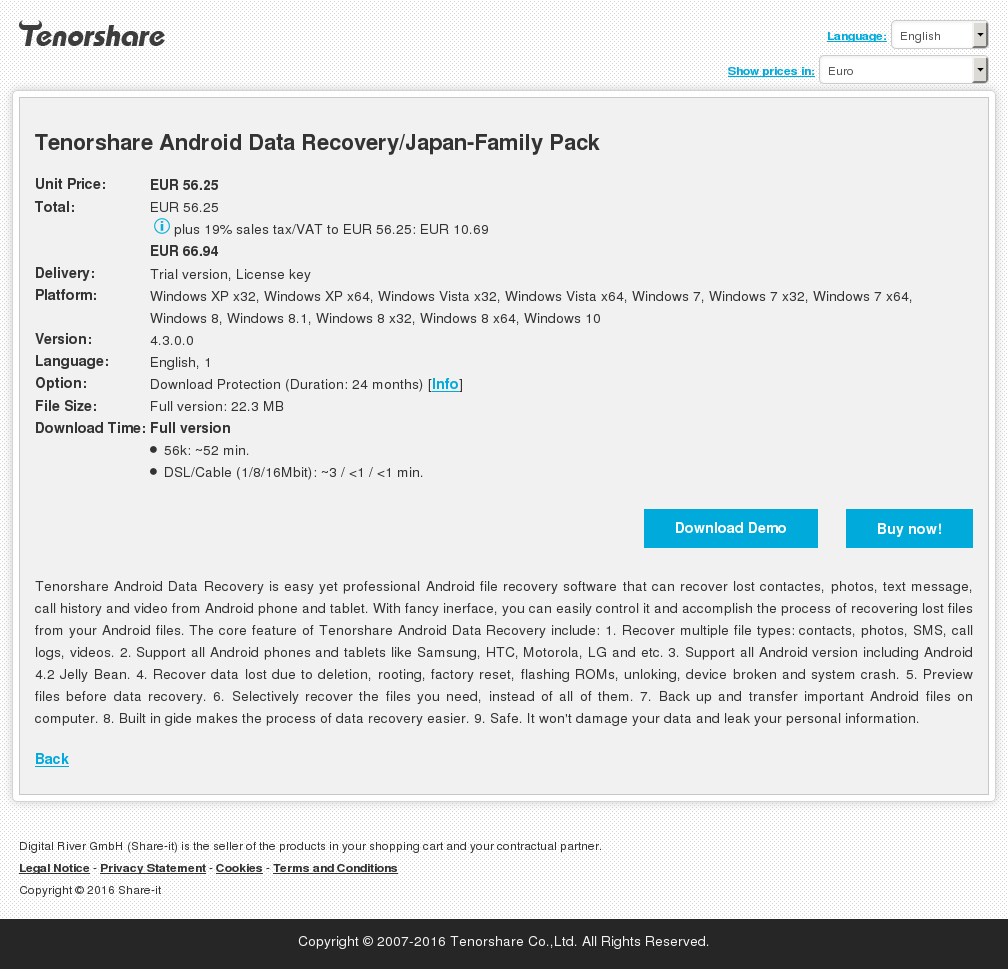 Tenorshare Android Data Recovery/Japan-Family Pack