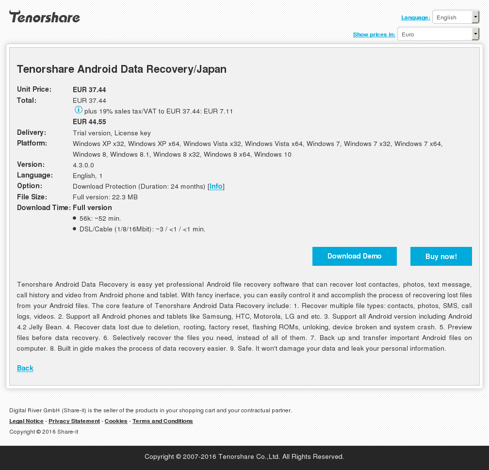 Tenorshare Android Data Recovery/Japan