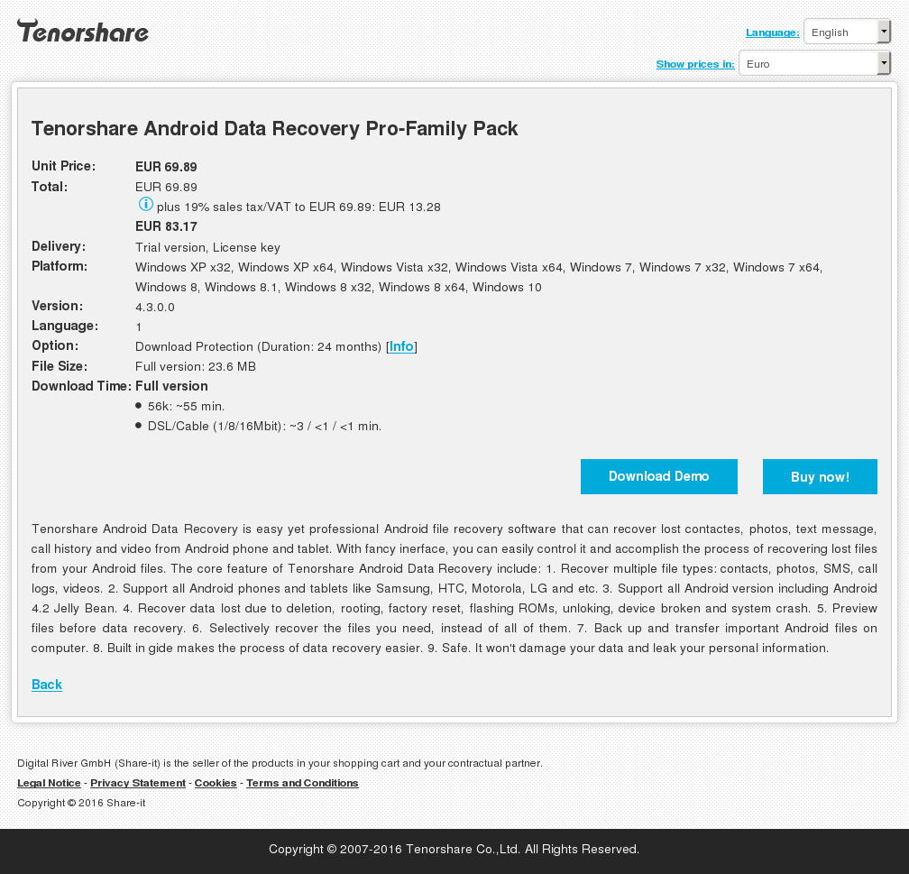 Tenorshare Android Data Recovery Pro-Family Pack