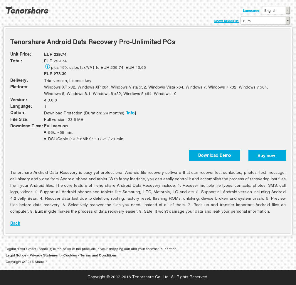 Tenorshare Android Data Recovery Pro-Unlimited PCs
