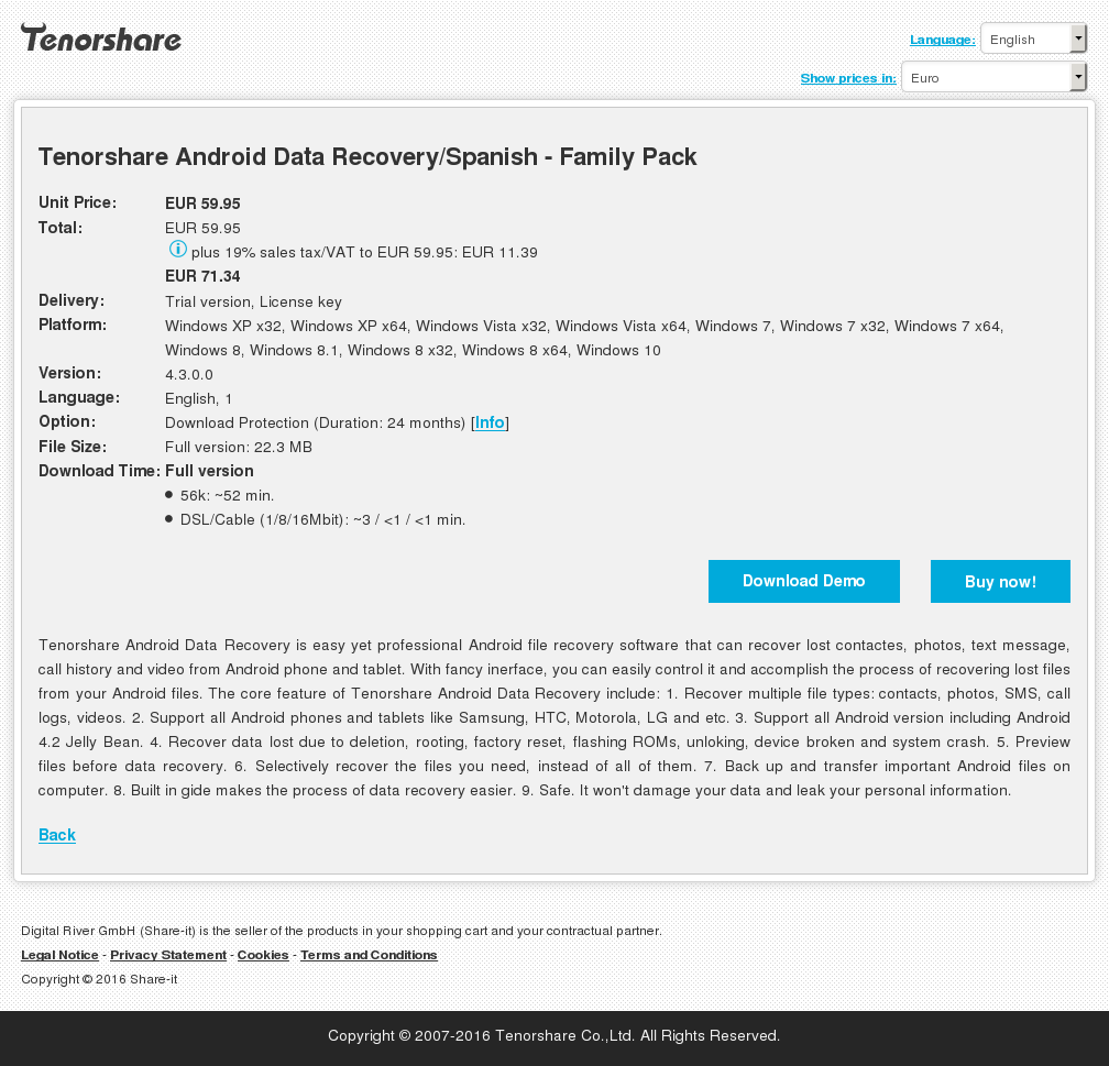 Tenorshare Android Data Recovery/Spanish - Family Pack