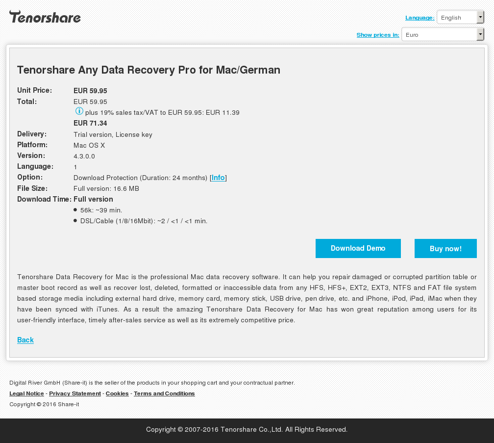 Tenorshare Any Data Recovery Pro for Mac/German